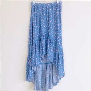 American Eagle Floral Ruffle High-Low Eyelet Skirt